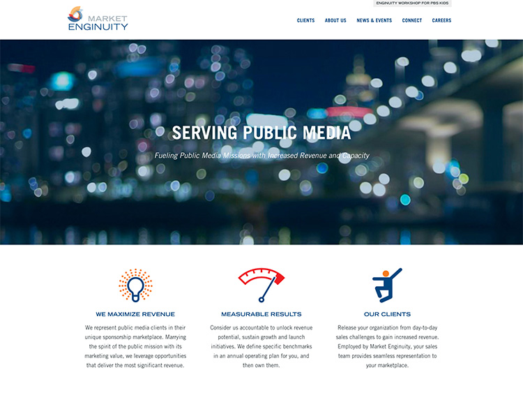 Market Enginuity Homepage on behalf of Brushfire Interactive
